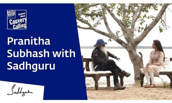 Pranitha-Subhash-with-Sadhguru-Cauvery-Calling